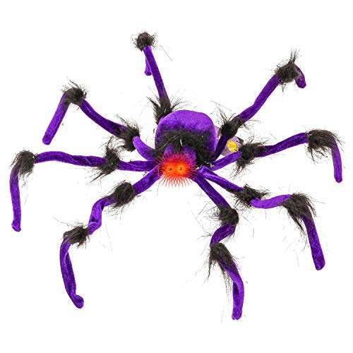 Halloween Haunters Giant 2 Foot Realistic Scary Purple Furry Spider with Red LED Eyes Prop Decoration - Creepy Crawly Striped Fury Hairy Legs
