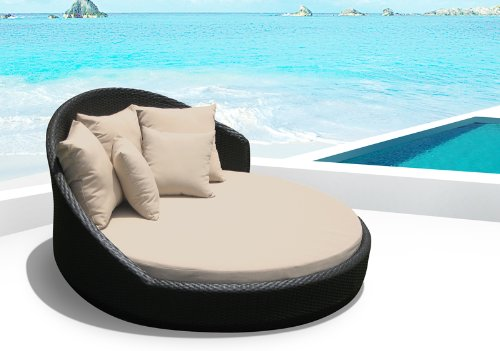 Amazon.com : Outdoor Patio Wicker Furniture Pool Lounge All Weather Garden  Round Double Bed Set ... (tan) : Outdoor And Patio Furniture Sets : Garden  U0026 ...