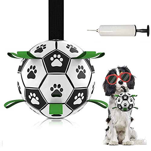 PECENDA 강아지 장난감 공을 대화형 강아지 장난감 애완 동물을 잡아 탭 개의 축구 공을 줄다리기는 강아지 장난감 개 물 장난감 축구감에 대한 강아지 큰 개의 야외 교육 애완 동물 물 씹어 공 W   부풀리는 장치