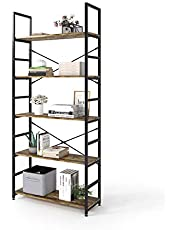 Magic Life Bookshelf, Industrial Bookcase, 5-Tier Wooden Storage Shelf with Metal Frame for Living Room, Bedroom, Entryway, Office, Easy Assembly, Rustic Brown