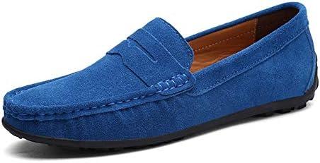 ラウンドヘッドソフトレザーシューズカジュアルフラットシューズ人工スエードアンチスリップと光をシューズドライビングメンズカジュアルシューズ 快適な男性のために設計 (Color : Light Blue, Size : 38 EU)