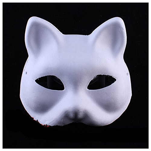 Halloween Mask White painted pulp paper DIY Full fox cat/fox masquerade (Baby Monkey Costume Diy)