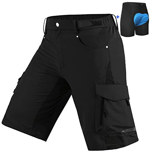 Cycorld Mens Mountain Bike Biking Shorts, Bicycle MTB Shorts, Loose Fit Cycling Baggy Lightweight Pants with Zip Pockets (Black and Underwear, L (Waist:32