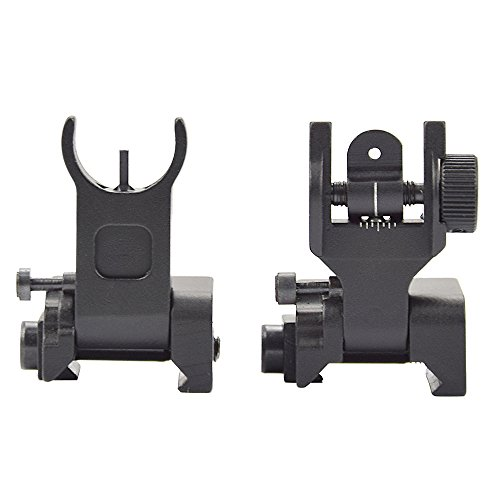 Twod Flip Up Battle Sight Front and Rear Iron Sight Set Dual Aperture BUIS,Low Profile,Black by Twod