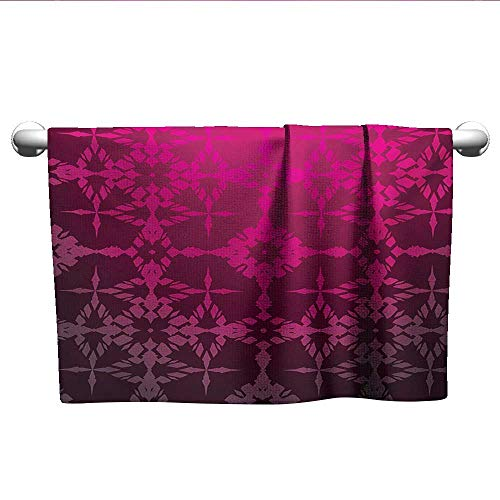 LilyDecorH Magenta,Wash Towels Victorian Stylized Classical Bound Ornamental Mosaic Patterns in Nostalgic Design Hotel Pool Towels Rosewood W 10
