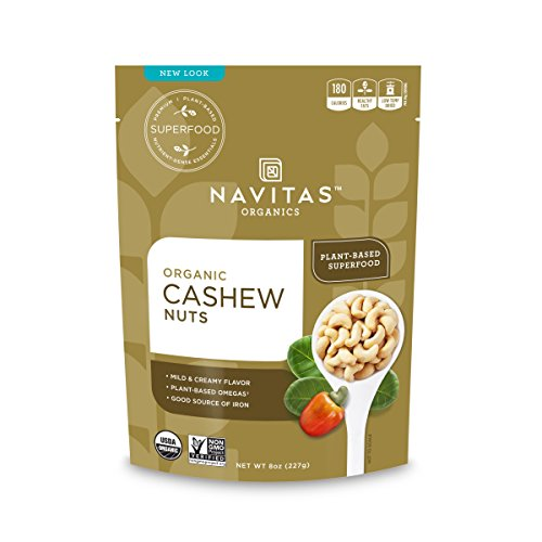 Navitas Organics Cashew Whole Nuts, 8 oz. Bags (Pack of 3) — Organic, Low Temp Dried, Non-GMO, Gluten-Free