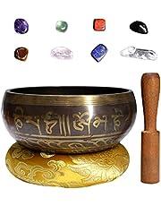 Joyeee 3.15'' Tibetan Singing Bowl Set with Chakra Stones, Buddhist Sound Bowl Himalayas Meditation Bowl for Holistic Healing, Zen, Yoga, Deep Relaxation, Sound Therapy and Mindfulness #1