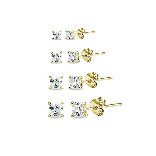 4 Pair Set Yellow Gold Flashed Sterling Silver Cubic Zirconia Princess-Cut Square Stud Earrings, 2mm 3mm 4mm 5mm ()