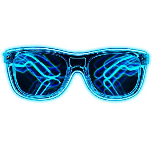 Light Up Sunglasses Rave (GloFX Blue EL Wire Wrapped Diffraction Glasses - LED Rainbow Rave Glasses Light Up Glowing Flashing EDM)
