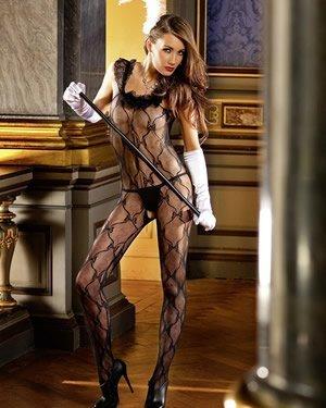 - Baci Women's Ruffle Lace Bodystocking, One Size, Black by Baci