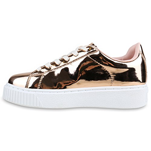 Stiefelparadies Flandell Gold Rose Plateau Sneaker Damen Metallic rwzqInZr8
