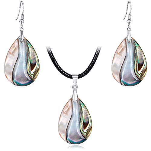 FM FM42 Women's Shell Teardrop Shape Charm Drop Hook Earrings & Pendant Necklace Jewelry Set -