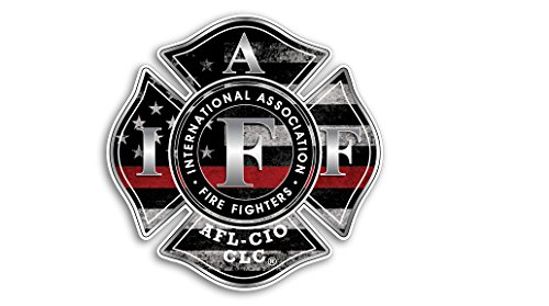 3 PACK THIN RED LINE IAFF Fireman Firefighter American Flag Vinyl Decal Sticker Car Truck Sniper Marines Army Navy Military Jeep Graphic