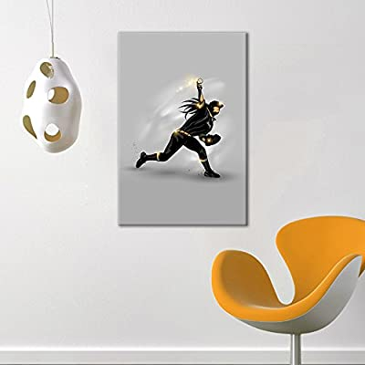 Canvas Wall Art Sports Theme - Girl Catching a Baseball - Giclee Print Gallery Wrap Modern Home Art Ready to Hang - 12x18 inches