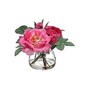 "Afloral Fuchsia Rose and Ranunculus Silk Flower Vase Arrangement - 5"" Tall 62"