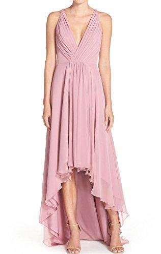 Dreagel En Mousseline De Soie Cou V Profond Haute Basses Robes Formelles Robes De Bal V Backless Rose