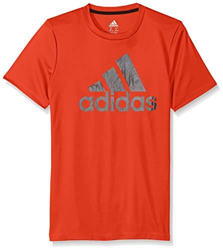 Adidas Boys' Little Short Sleeve Logo Tee Shirt, Fusion ADI red, 7