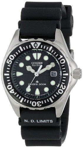 Citizen Women's EP6000-07H Eco-Drive Professional Diver Black Rubber Strap Watch