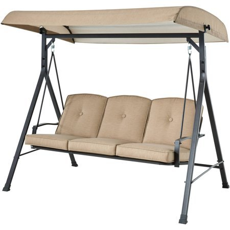 Mainstay` Forest Hills 3-Seat Cushion Canopy Porch Swing, Tan,Beige + Handi Wipes