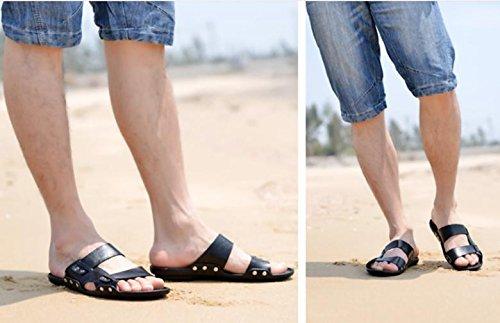 2017 sandalias de cuero de los nuevos hombres del verano calzan los zapatos ocasionales antideslizantes respirables Black