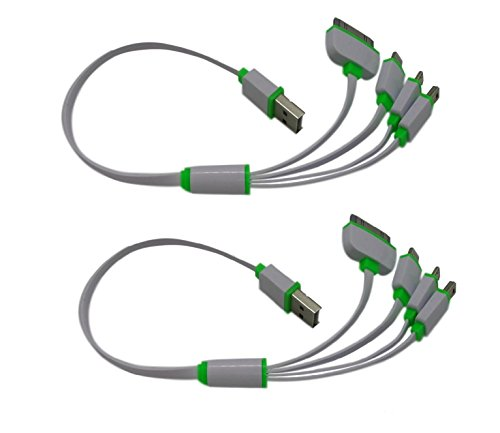 USB Charger Cable 4 in 1 USB Cable, set of 2, lightening cable, 2 Micro-USB and 30 Pin 1 ft cable