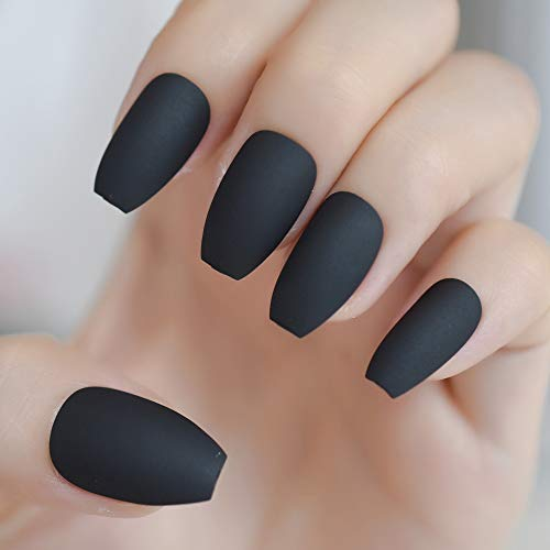 Coffin Fake Nails Matte Red Wine Frosted Press On Nails Coloured Pink Black False Nails Many Colors Z974 -