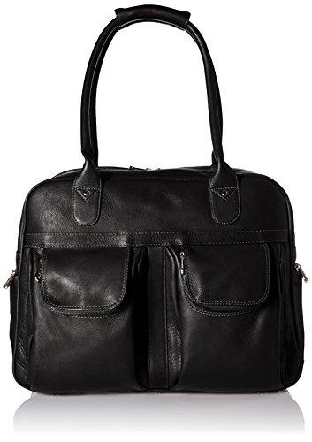 Piel Leather Multi-Pocket Satchel, Black