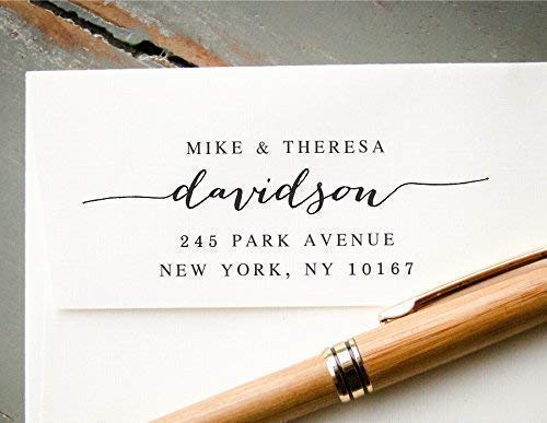 Self-Inking Hand Calligraphy Font Return Address Stamp, Pre-Inked Custom Rubber Stamp, Wedding Invitation Stamp, Save the Date Stamp, Housewarming Gift ()