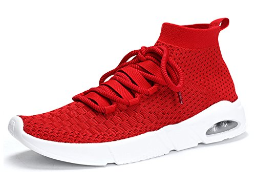 SKDOIUL Sneakers for Men mesh Breathable Lightweight Comfortable Sock Walking Shoes Gym Trail Workout Sport Running Shoes Youth Big Boys Tennis Jogging Shoes Plus Size Red Size 12 (1806-Red-46)