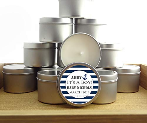 12 Nautical Baby boy Shower Favors | 4oz Personalized soycandles | Silver, Gray, Blue Stripes | Custom Stickers Labels | Table Decor, Centerpiece]()
