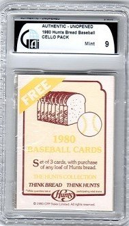 1980 Hunts Bread Baseball Cello Pack Graded GAI Mint (Baseball Cello Pack)