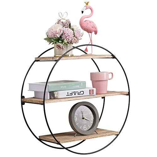 KAThome 4U Floating Shelves, Pine Wood Wall Shelves with 3 Layers, Scratch-Resistant Wall Mounted Shelves, Rustic Hanging Shelves for Living Room, Bedroom, Bathroom, Kitchen, Home Office and More