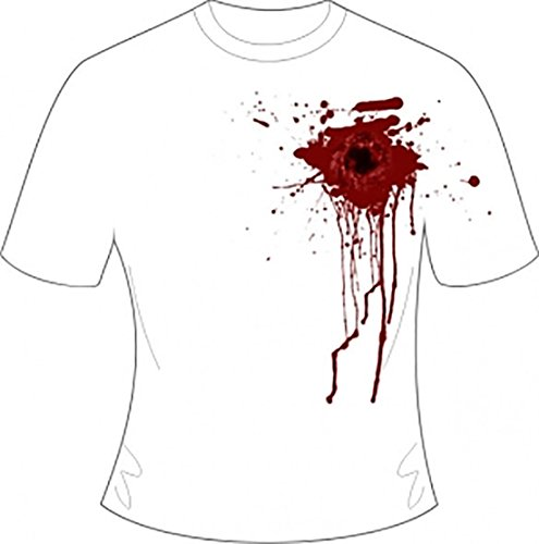 Rimi Hanger Mens White Gunshot Wound Printed T-Shirt Adult Halloween Fancy Party Dress Outfit Small