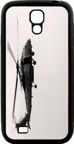 Rikki Knight Vintage Army Helicopter Samsung Galaxy S4 Case Cover (Black Hard Rubber TPU with Bumper Protection)