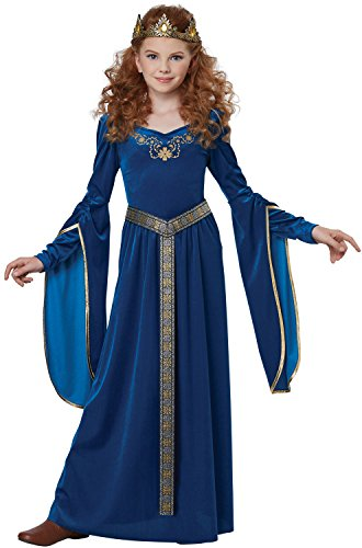 California Costumes Queen, Royalty, Renaissance, Knight Medieval Princess Girls Costume, Teal, Medium -