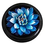 Thai Hand-Carved Soap Flower, 4 inch Scented Soap Carving, Blue Lotus in Decorative Pine Wood Case