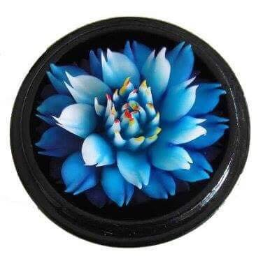 Thai Hand-Carved Soap Flower, 4 inch Scented Soap Carving, Blue Lotus in Decorative Pine Wood Case by Thai Decorated