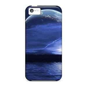 ScoDay Iphone 5c Hybrid Tpu Case Cover Silicon Bumper Moon