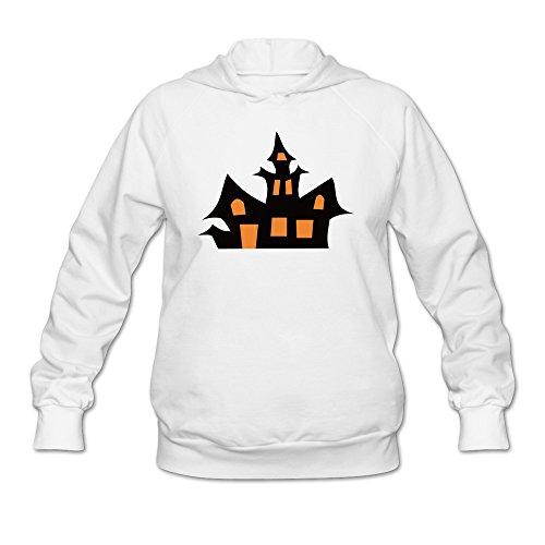 Women Halloween Pumpkin House Hoodies White 100% -