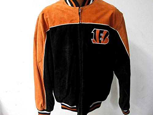 G-III Sports Mens Cincinnati Bengals Embroidered Full Zip Suede/Soft Leather Jacket, Size Large