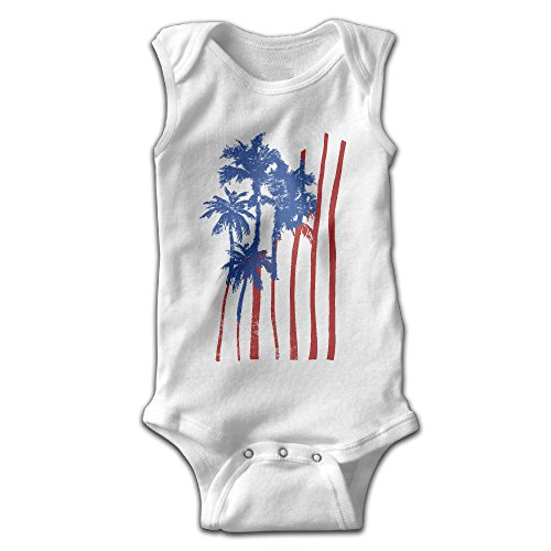 Toddler Green Furry Jumpsuit (FSFUNNY Infant Sleeveless Onesies USA American Flag Palm Art Bodysuit For Baby Boy And Girl 100% Cotton Jumpsuit)