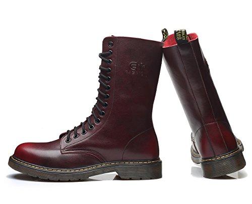 Damen Flache Schnüren gefüttert Freizeitschuhe samt Klassischer Martin Damen Damen uBeauty Flach Boots Stiefeletten Rot Stiefeletten Stiefel Stiefel qtPnTBwf