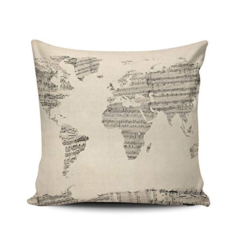 LUDEM Custom Fashion Home Decor Pillowcase Old Sheet Music World Map European Square Throw Pillow Cover Cushion Case 18x18 Inches Two Sides Print