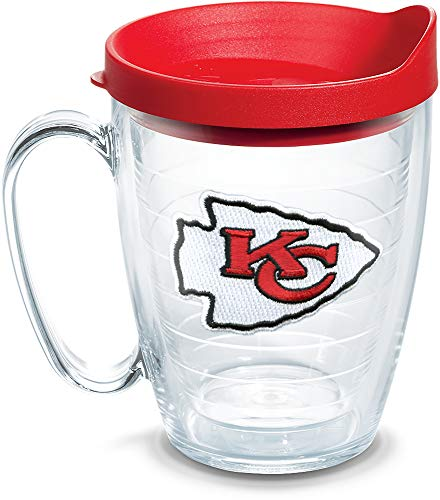 Tervis 1062481 NFL Kansas City Chiefs Primary Logo Tumbler with Emblem and Red Lid 16oz Mug, Clear