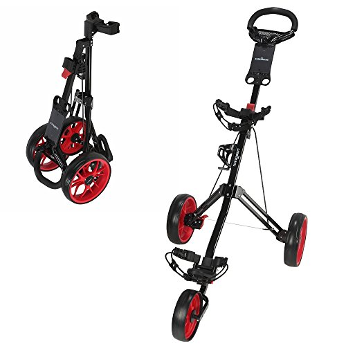 Caddymatic Golf Pro Lite 3 Wheel Golf Cart Black Red