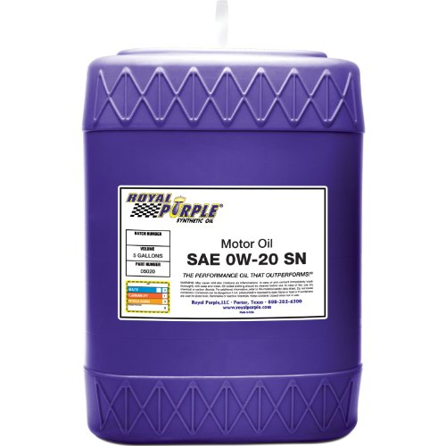 Royal Purple 05020 API-Licensed SAE 0W-20 High Performance Synthetic Motor Oil - 5 gal. ()
