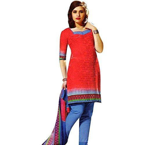 Readymade French Crepe Printed Salwar Kameez Suit Indian Red