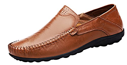 LOUECHY Men's Liberva Genuine Leather Slip-on Loafer Casual Shoes Breathable Driving Shoes 8201-46 (Mens Brown Casual Loafers)