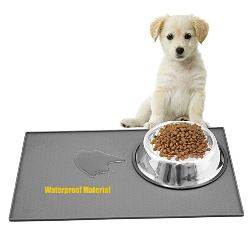 RilexAwhile Food Grade Silicone Pet Feeding Mat with Raised Edge, Non Slip Non Spills Dog Cat Bowl Mat, Rectangle Shape Pet Feeder Pad