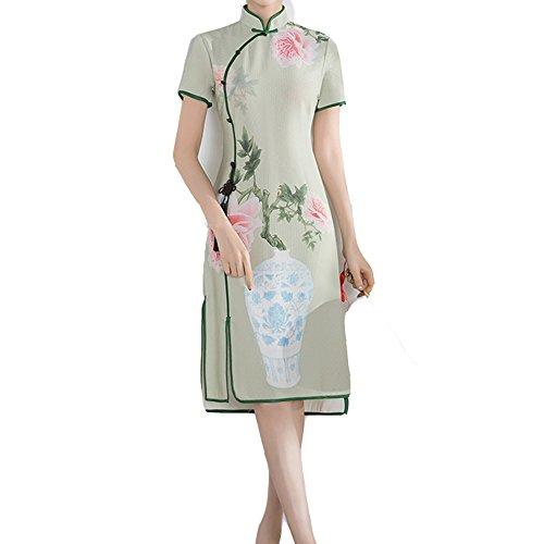 機関第二に大宇宙レディーズ チャイナドレス 半袖 緑と花